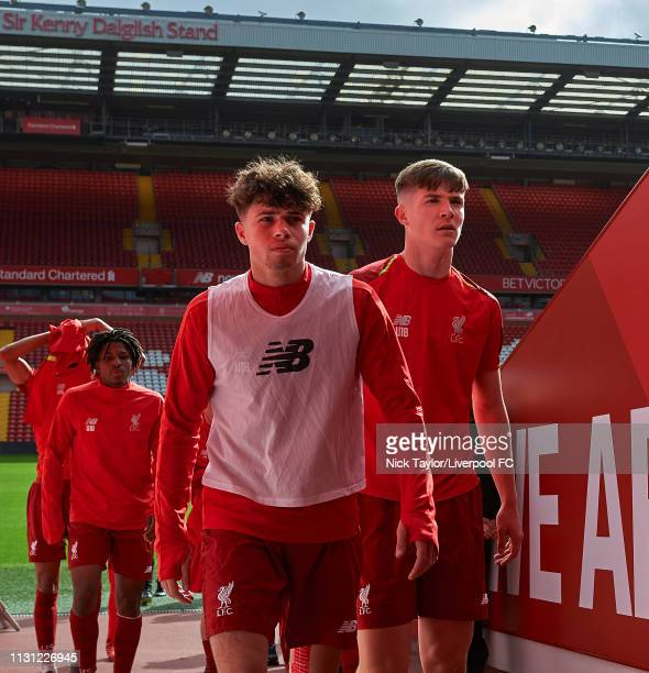 Neco Williams and Morgan Boyes of Liverpool before the FA Youth Cup match at Anfield on March 17 2019 in Liverpool England