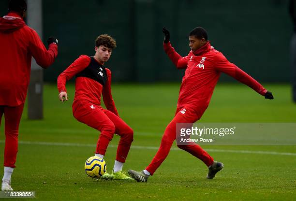 Neco Williams and Rhian Brewster of Liverpool during a training session at Melwood Training Ground on October 25 2019 in Liverpool England