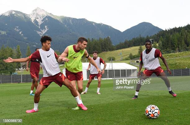 Neco Williams, Kaide Gordon, James Milner and Billy Koumetio of Liverpool during a training session on July 25, 2021 in UNSPECIFIED, Austria.