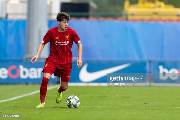 Neco Williams of FC Liverpool U19 controls the ball during the UEFA Youth League match between Genk U19 and Liverpool U19 at KRC Genk Arena on...
