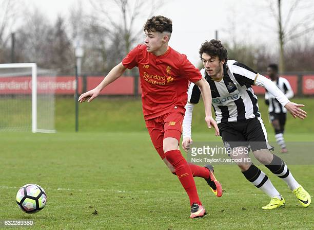 Neco Williams of Liverpool and Callum Smith of Newcastle United in action during the Liverpool v Newcastle United U18 Premier League game at The...