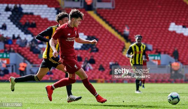 Neco Williams of Liverpool and Courtney Watson of Watford in action during the FA Youth Cup match at Anfield on March 17 2019 in Liverpool England