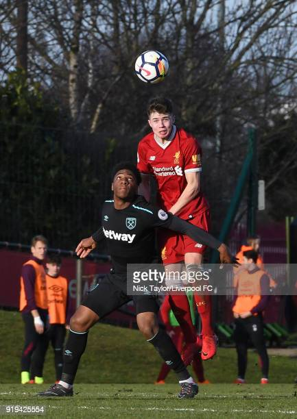 Neco Williams of Liverpool and Oladapo Afolayan of West Ham United in action during the Liverpool v West Ham United PL2 game at The Kirkby Academy on...