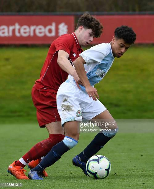 Neco Williams of Liverpool and Samuel Durrant of Blackburn Rovers in action during the U18 Premier League game at The Kirkby Academy on March 2 2019...