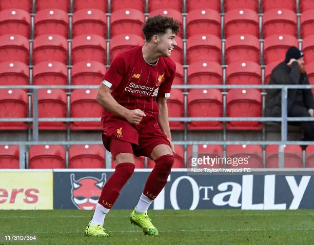 Neco Williams of Liverpool celebrates scoring Liverpool's second goal during the UEFA Youth League game at Totally Wicked Stadium on October 2 2019...