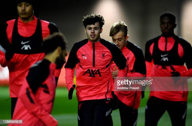Neco Williams of Liverpool during a training session ahead of the UEFA Champions League Group D stage match between Liverpool FC and Ajax Amsterdam...