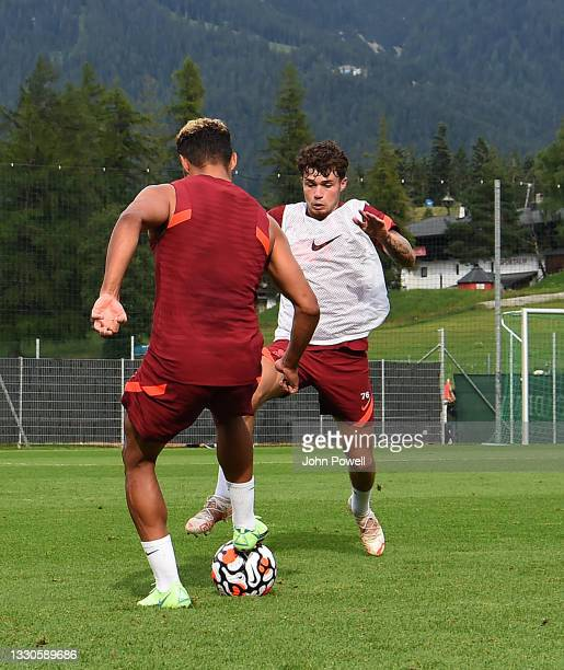 Neco Williams of Liverpool during a training session on July 25, 2021 in UNSPECIFIED, Austria.