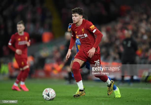 Neco Williams of Liverpool during the FA Cup Fourth Round Replay match between Liverpool and Shrewsbury Town at Anfield on February 04, 2020 in...