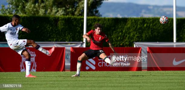 Neco Williams of Liverpool during the Pre Season match between Liverpool and Bologna on August 05, 2021 in Evian-les-Bains, France.
