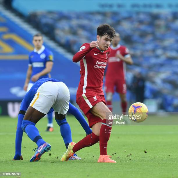 Neco Williams of Liverpool during the Premier League match between Brighton & Hove Albion and Liverpool at American Express Community Stadium on...