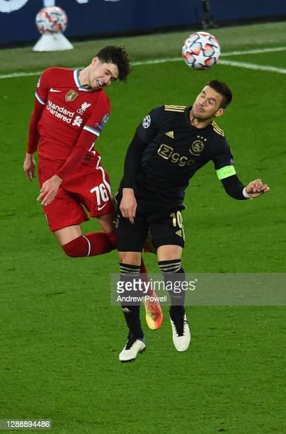 Neco Williams of Liverpool during the UEFA Champions League Group D stage match between Liverpool FC and Ajax Amsterdam at Anfield on December 01,...