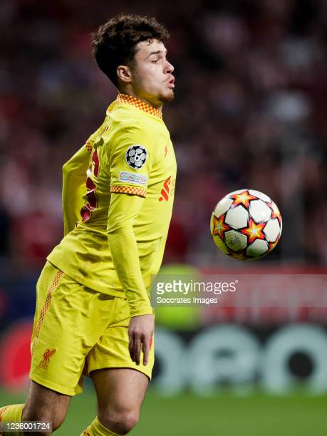 Neco Williams of Liverpool FC during the UEFA Champions League match between Atletico Madrid v Liverpool at the Estadio Wanda Metropolitano on...