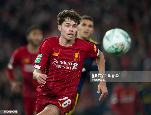Neco Williams of Liverpool in action during the Carabao Cup Fourth Round match between Liverpool and Arsenal at the Anfield Stadium on October 30...