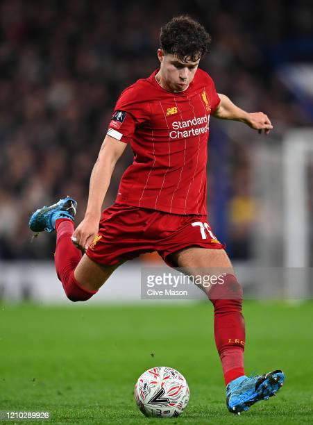 Neco Williams of Liverpool in action during the FA Cup Fifth Round match between Chelsea FC and Liverpool FC at Stamford Bridge on March 03, 2020 in...