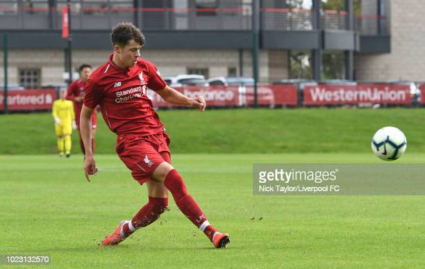 Neco Williams of Liverpool in action during the Liverpool U18 v West Bromwich Albion U18 game at The Kirkby Academy on August 25 2018 in Kirkby...