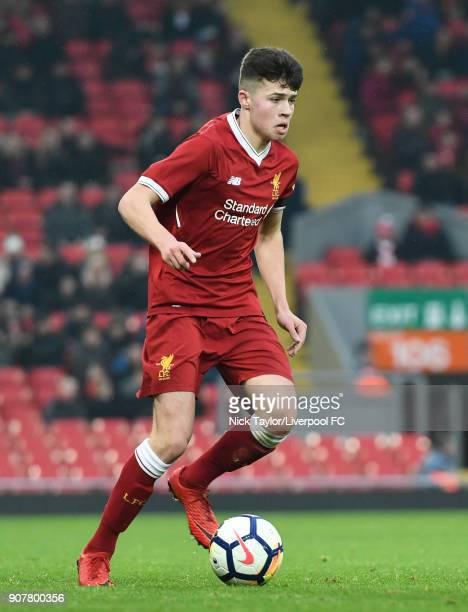 Neco Williams of Liverpool in action during the Liverpool v Arsenal FA Youth Cup game at Anfield on January 20 2018 in Liverpool England