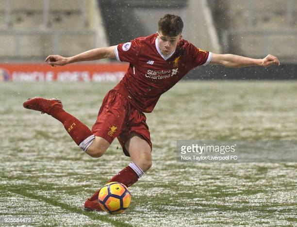 Neco Williams of Liverpool in action during the Liverpool v Porto Premier League International Cup game at Leigh Sports Village on February 28 2018...