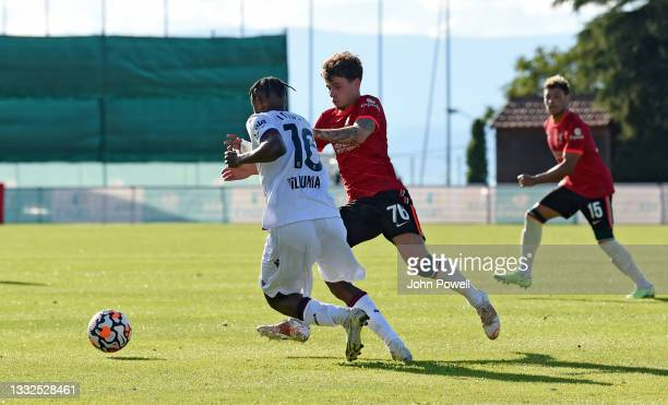 Neco Williams of Liverpool in action during the Pre Season match between Liverpool and Bologna on August 05, 2021 in Evian-les-Bains, France.
