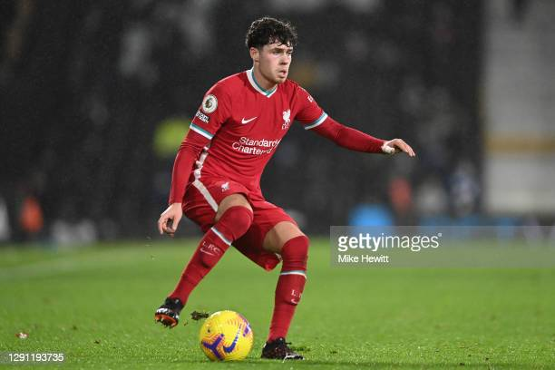 Neco Williams of Liverpool in action during the Premier League match between Fulham and Liverpool at Craven Cottage on December 13, 2020 in London,...