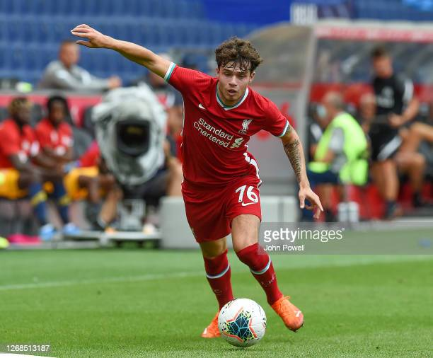 Neco Williams of Liverpool in action during the pre-season friendly match between Liverpool and Salzburg at The Red Bull Stadium on August 25, 2020...