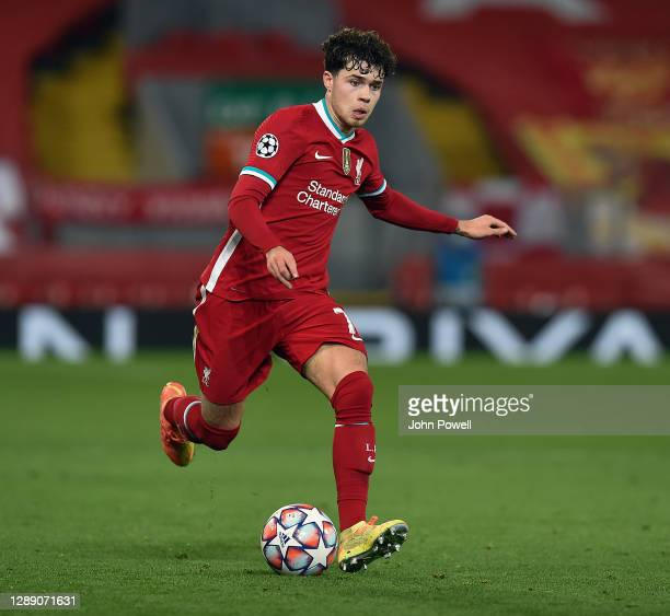 Neco Williams of Liverpool in action during the UEFA Champions League Group D stage match between Liverpool FC and Ajax Amsterdam at Anfield on...