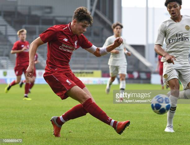 Neco Williams of Liverpool in action during the UEFA Youth League game at Langtree Park on September 18 2018 in St Helens England