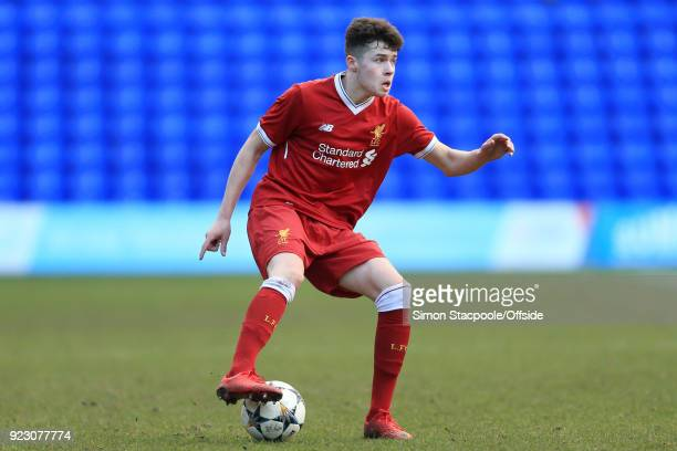 Neco Williams of Liverpool in action during the UEFA Youth League Round of 16 match between Liverpool and Manchester United at Prenton Park on...