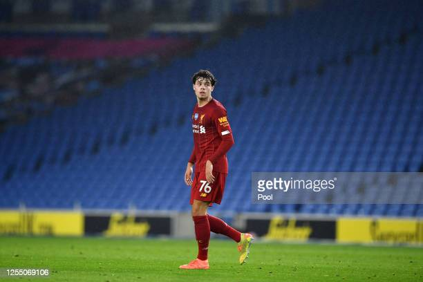 Neco Williams of Liverpool looks on during the Premier League match between Brighton & Hove Albion and Liverpool FC at American Express Community...