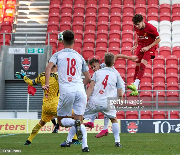 Neco Williams of Liverpool scores Liverpool's second goal during the UEFA Youth League game at Totally Wicked Stadium on October 2 2019 in St Helens...