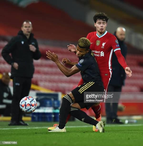 Neco Williams of Liverpool with David Neres of Ajax during the UEFA Champions League Group D stage match between Liverpool FC and Ajax Amsterdam at...