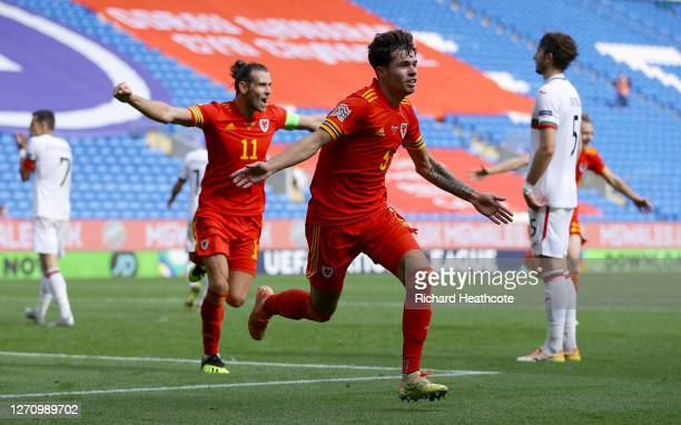 Neco Williams of Wales celebrates after scoring his team's first goal during the UEFA Nations League group stage match between Wales and Bulgaria at...