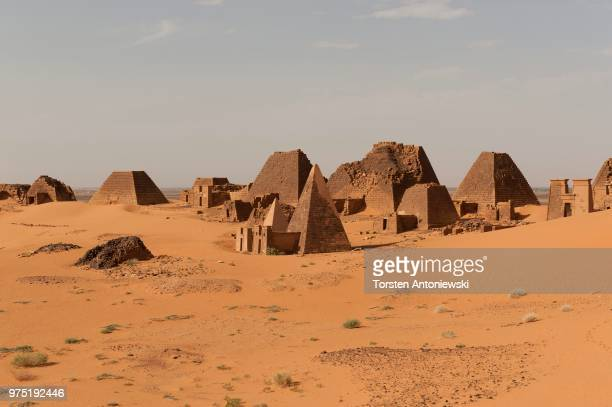 Necropolis of the rulers of the ancient kingdom of Kush, pyramids of the north cemetery of Meroe, Nubian Desert, Nubia, Nahr an-Nil, Sudan