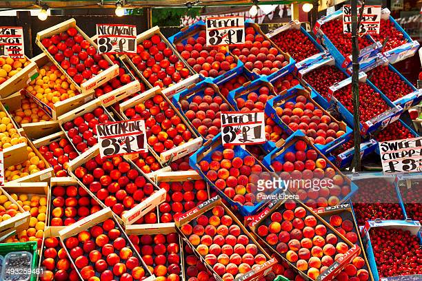 Nectarines and Peaches sold at the Street Stall in Oxford Street in London