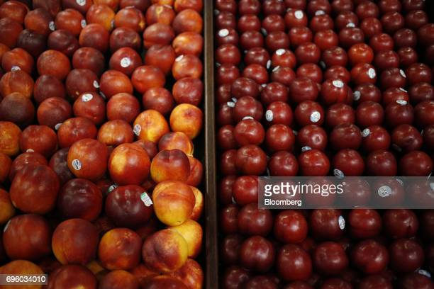 Nectarines are displayed for sale inside a Kroger Co grocery store in Louisville Kentucky US on Wednesday June 14 2017 Kroger Co is scheduled to...