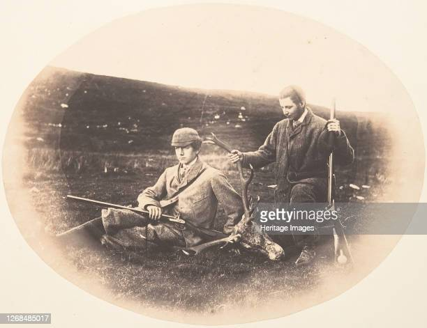 Ned and Colin Ross with Hunt Trophy, circa 1857. Artist Horatio Ross.