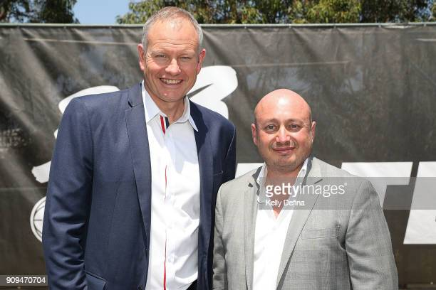 Ned Coten and Larry Kestelman pose for a portrait during a NBL media opportunity at Federation Square on January 24 2018 in Melbourne Australia