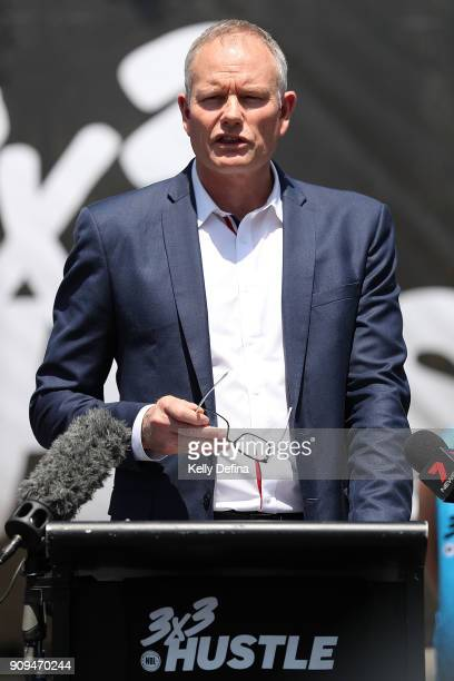 Ned Coten speaks to the media during a NBL media opportunity at Federation Square on January 24 2018 in Melbourne Australia