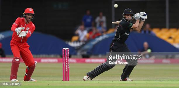 Ned Eckersley of Leicestershire cuts the ball to the boundary during the Vitality Blast match between Leicestershire Foxes and Lancashire Lightning...