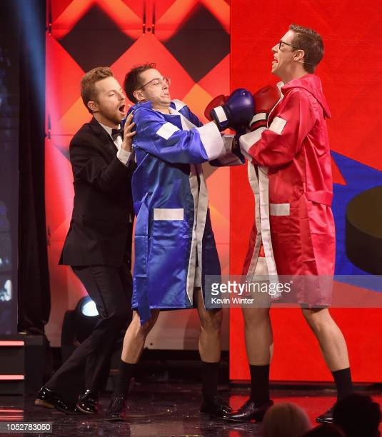 Ned Fulmer Zach Kornfeld and Keith Habersberger peform onstage during The 8th Annual Streamy Awards at The Beverly Hilton Hotel on October 22 2018 in...