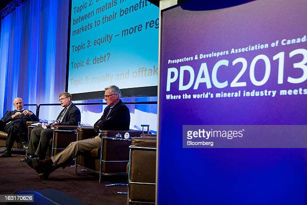 Ned Goodman, president and chief executive officer of Dundee Corp., from left, John Kaiser, editor at Kaiser Research Online, and Eric Sprott, chief...