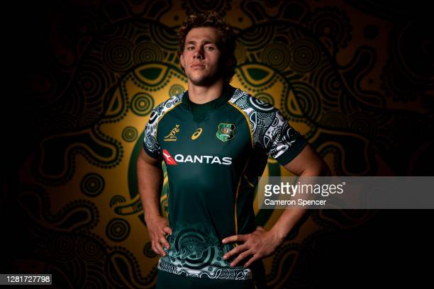 Ned Hangigan of the Wallabies poses during the Australian Wallabies 2020 First Nations Jersey portrait session on October 22 2020 in the Hunter...
