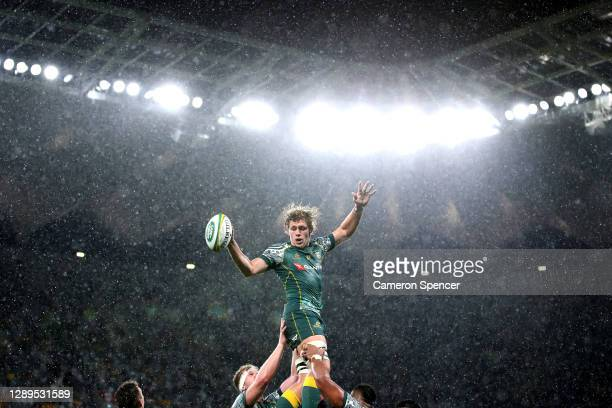Ned Hangigan of the Wallabies takes a line out during the 2020 Tri-Nations match between the Australian Wallabies and the Argentina Pumas at Bankwest...