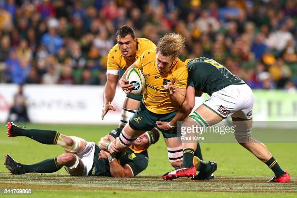 Ned Hanigan of Australia gets tackled during The Rugby Championship match between the Australian Wallabies and the South Africa Springboks at nib...
