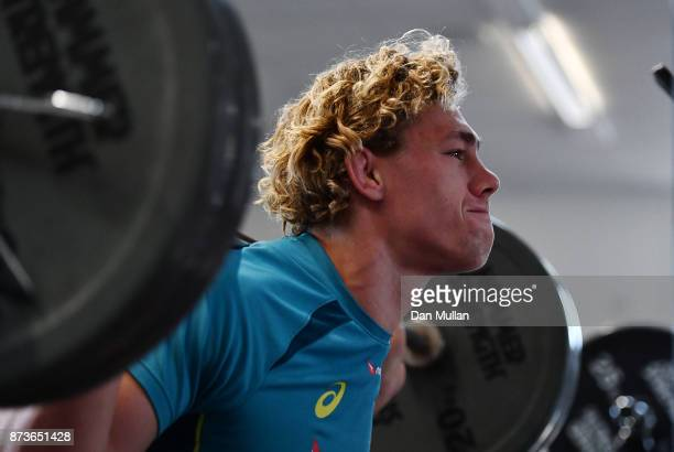 Ned Hanigan of Australia lifts weights during a training session at the Lensbury Hotel on November 13 2017 in London England