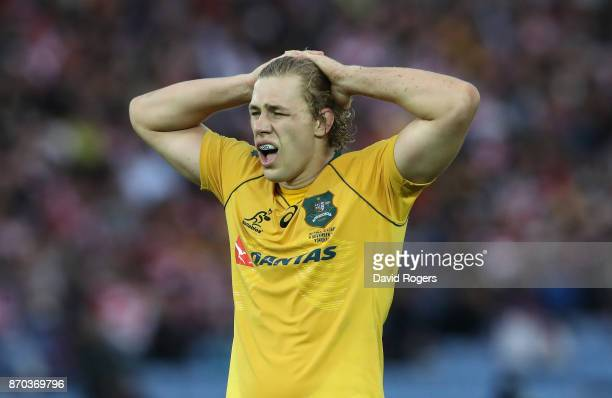 Ned Hanigan of Australia looks on during the rugby union international match between Japan and Australia Wallabies at Nissan Stadium on November 4...