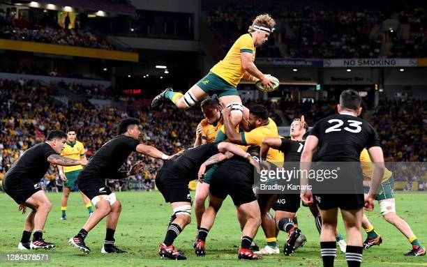 Ned Hanigan of the Wallabies competes at the lineout during the 2020 Tri-Nations match between the Australian Wallabies and the New Zealand All...