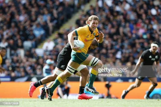 Ned Hanigan of the Wallabies makes a break during the Bledisloe Cup match between the New Zealand All Blacks and the Australian Wallabies at Eden...