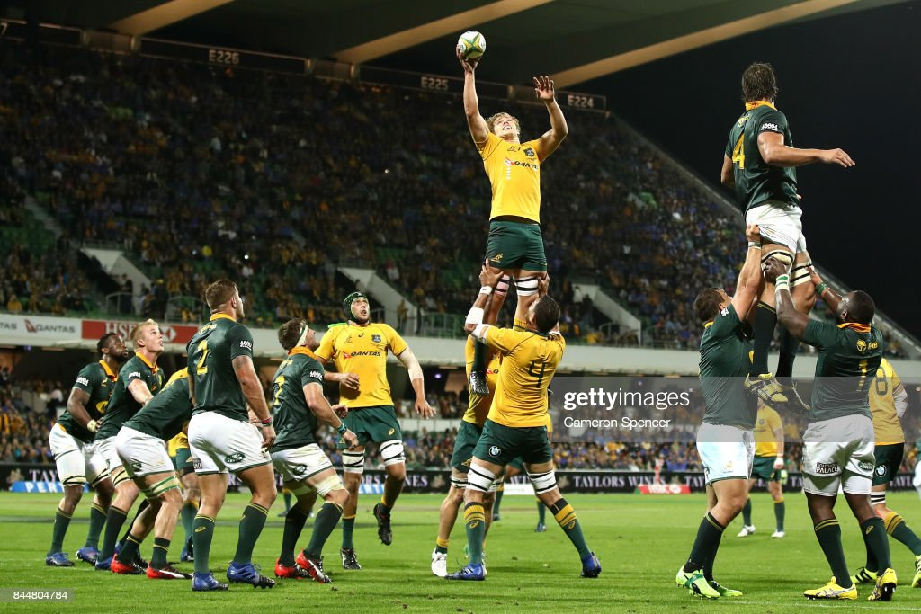 Ned Hanigan of the Wallabies takes a lineout ball during The Rugby Championship match between the Australian Wallabies and the South Africa Springboks at nib Stadium on September 9, 2017 in Perth, Australia.