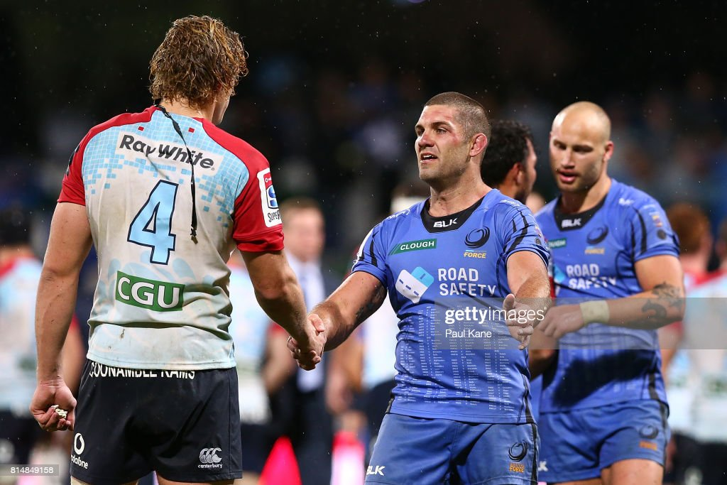 Ned Hanigan of the Waratahs and Matt Hodgson of the Force shake hands after the round 17 Super Rugby match between the Force and the Waratahs at nib Stadium on July 15, 2017 in Perth, Australia.