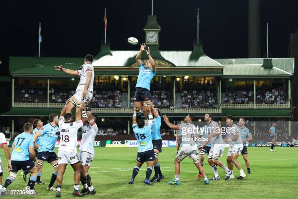 Ned Hanigan of the Waratahs wins the lineout ball during the round six Super Rugby match between the Waratahs and the Crusaders on March 23 2019 in...